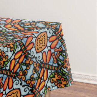Whimsical Dragonflies Blue Orange Pattern Tablecloth