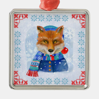 Whimsical Dressed up Christmas Fox, Ornament