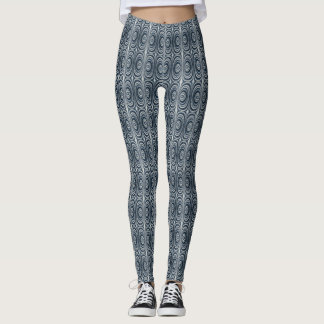 Whimsical Earth Toned Blue Abstract Pattern Leggings