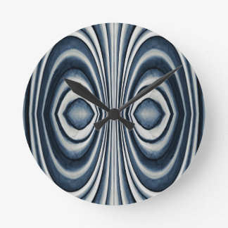 Whimsical Earth Toned Blue Abstract Pattern Round Clock