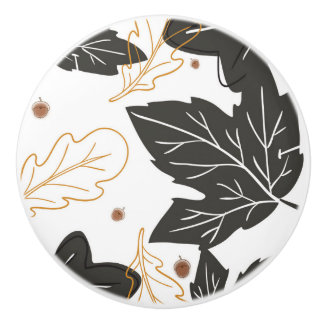 Whimsical Elegant Autumn Fall Leaves Acorns Ceramic Knob
