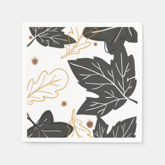 Whimsical Elegant Autumn Fall Leaves Acorns Paper Napkin
