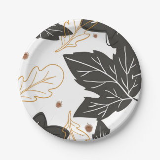 Whimsical Elegant Autumn Fall Leaves Acorns Paper Plate