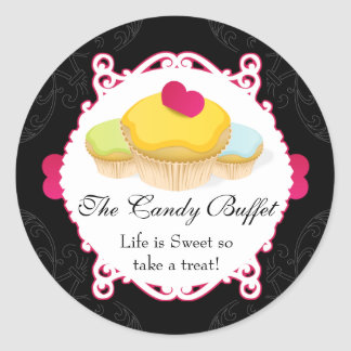 Whimsical & Elegant Cupcake Candy Buffet Labels Round Sticker