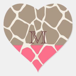 whimsical elegant giraffe monogram heart sticker