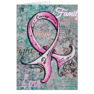 Whimsical Elegant Pink Ribbon Breast Cancer Card