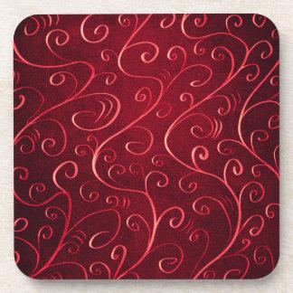 Whimsical Elegant Textured Red Swirl Pattern Coaster