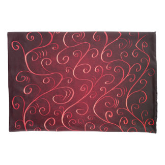 Whimsical Elegant Textured Red Swirl Pattern Pillowcase