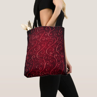 Whimsical Elegant Textured Red Swirl Pattern Tote Bag