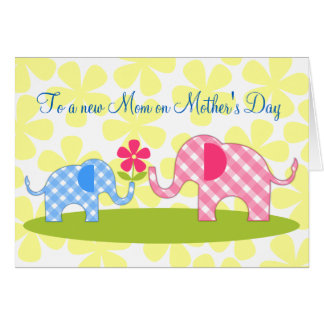 Whimsical Elephants First Mother s Day Card