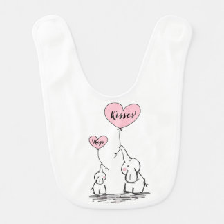 Whimsical Elephants Hugs And Kisses Bib