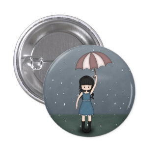 Whimsical Emo Girl Standing in the Rain 3 Cm Round Badge