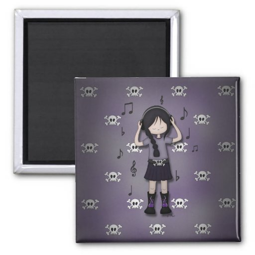 Whimsical Emo Goth Girl with Music Headphones Refrigerator Magnet