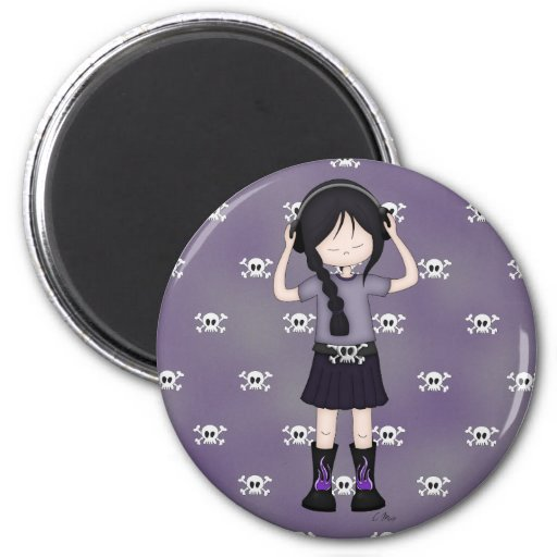 Whimsical Emo Goth Girl with Music Headphones Magnet