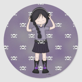 Whimsical Emo Goth Girl with Music Headphones Round Sticker