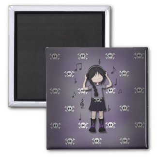 Whimsical Emo Goth Girl with Music Headphones Square Magnet