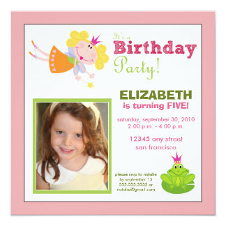 Whimsical Fairy Girls Birthday Party Invite: pink 13 Cm X 13 Cm Square Invitation Card