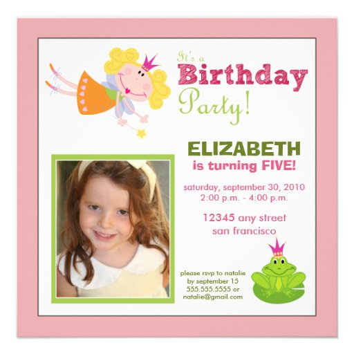 Whimsical Fairy Girls Birthday Party Invite: pink