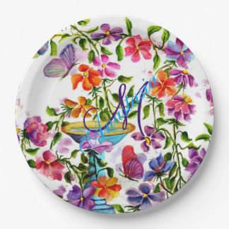 WHIMSICAL FAIRY-LIKE BIRD BATH MONOGRAM PARTY PAPER PLATE
