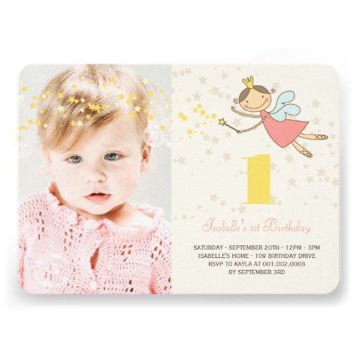 Whimsical Fairy Princess Girl 1st Birthday Photo Personalized Announcement