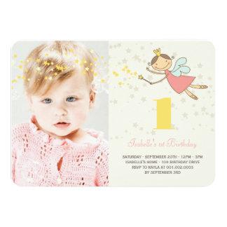 Whimsical Fairy Princess Girl 1st Birthday Photo 4.5x6.25 Paper Invitation Card