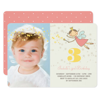 Whimsical Fairy Princess Girl Birthday Party Photo 13 Cm X 18 Cm Invitation Card