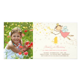 Whimsical Fairy Princess Girl Kids Birthday Party Custom Photo Card