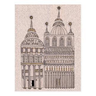 Whimsical Fairy Tale Illustration Buildings Postcard