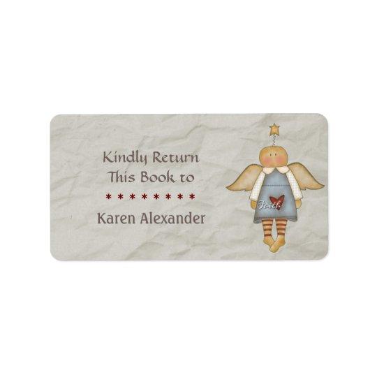 Whimsical Faith Angel Book Return Address Label