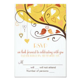 Whimsical Fall Autumn Lovebirds RSVP Card Invites