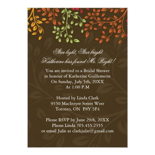Whimsical Fall Bridal Shower Card
