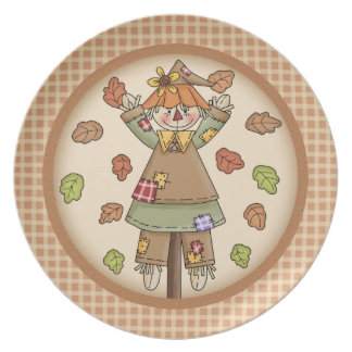 Whimsical Fall or Autumn Scarecrow Plaid Pattern Plate