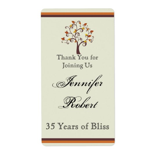 Whimsical Fall Tree Anniversary Wine Label Shipping Label