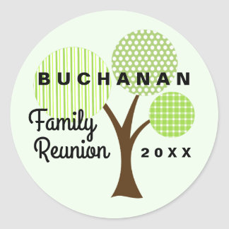 Whimsical Family Reunion Tree Green Patterned Round Sticker