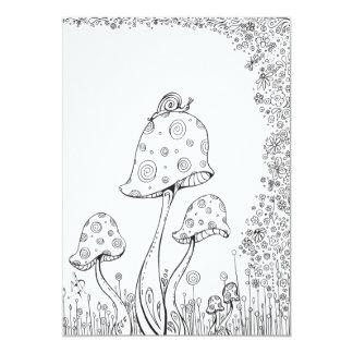 Whimsical Fantasy Mushroom Flower Coloring Card 13 Cm X 18 Cm Invitation Card