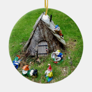 Whimsical Fantasy Outdoor Gnomes With House Round Ceramic Decoration