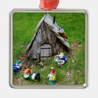 Whimsical Fantasy Outdoor Gnomes With House Silver-Colored Square Decoration