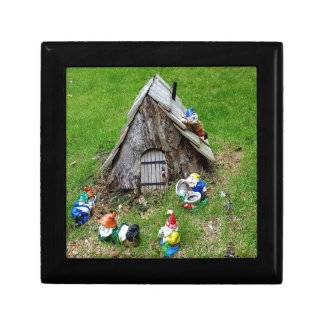 Whimsical Fantasy Outdoor Gnomes With House Small Square Gift Box