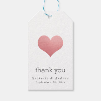 Whimsical Faux Rose Foil Heart Thank You Wedding Gift Tags
