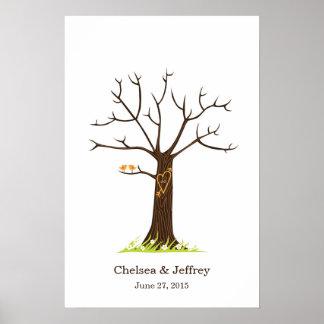 Whimsical Fingerprint Tree with Lovebirds Poster
