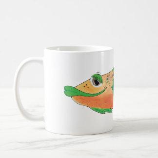 Whimsical Fish Artwork in Orange and Green Coffee Mug