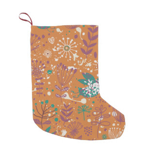 Whimsical Floral Birds Small Christmas Stocking