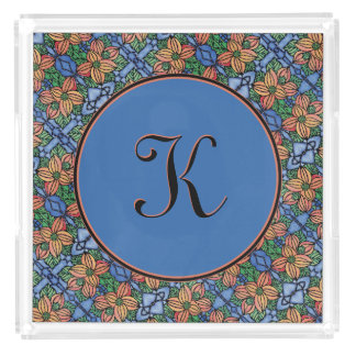 Whimsical Floral Blue And Orange Pattern Monogram Acrylic Tray
