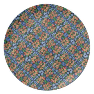 Whimsical Floral Blue And Orange Pattern Plate