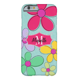Whimsical Floral Doodle Banner Monogram Name Barely There iPhone 6 Case