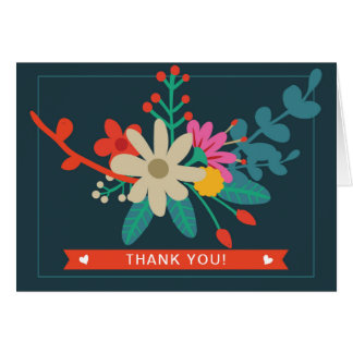Whimsical Floral Folded Thank You Cards