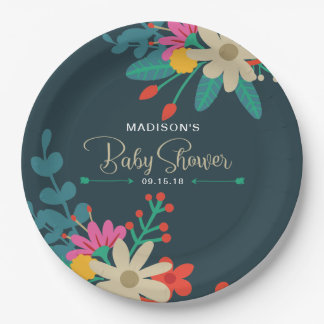 Whimsical Floral Paper Plates for Baby Shower 9 Inch Paper Plate