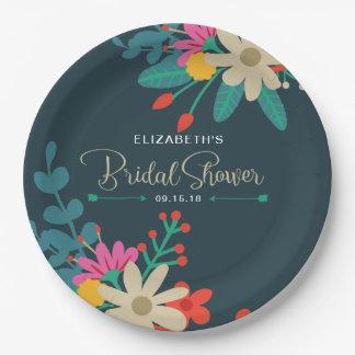 Whimsical Floral Paper Plates for Bridal Shower