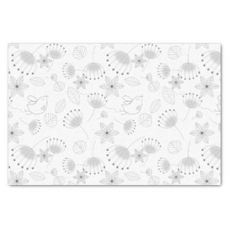 Whimsical Floral Pattern in Black and White Tissue Paper