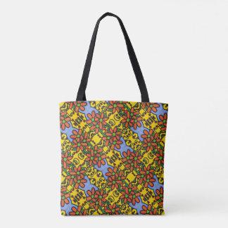 Whimsical Floral Pattern Orange Yellow Blue Tote Bag
